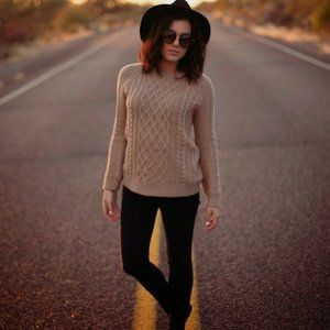 Forever 21 Taupe Cable Knit Sweater